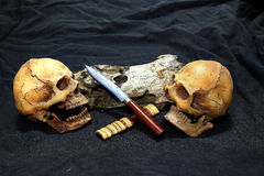 Crânio com facas e madeira clássicas no fundo preto - ainda facas do clássico do estilo de vida Fotografia de Stock Royalty Free