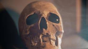 Crânio com os olhos roxos cobertos no fumo branco filme