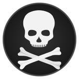 Crânio com ossos Crânio e ossos em um fundo preto Fotografia de Stock Royalty Free