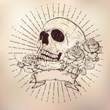 Crânio com rosas ilustração royalty free
