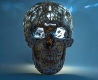 Crânio com teste padrão cinzelado no inclinação azul Foto de Stock Royalty Free