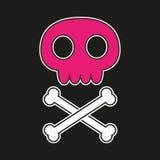 Crânio cor-de-rosa com ossos cruzados Foto de Stock Royalty Free