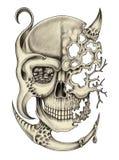 Crânio da arte surreal ilustração royalty free