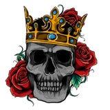 Crânio da ilustração do vetor que veste uma coroa do rei ilustração royalty free