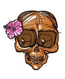 Crânio da senhora com flor ilustração royalty free