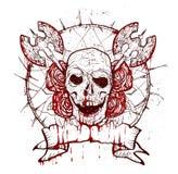 Crânio da tatuagem de Xmass ilustração do vetor