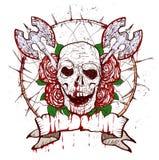 Crânio da tatuagem de Xmass ilustração royalty free