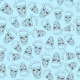 Crânio da tatuagem do Xmas ilustração do vetor