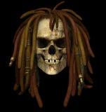 Crânio de Grunge com Dreadlocks Fotografia de Stock Royalty Free