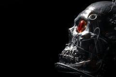 Crânio de um robô humano do tamanho fotografia de stock