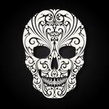 Crânio decorativo com elementos decorativos e florais Imagens de Stock