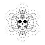 Crânio decorativo com símbolo geométrico Foto de Stock