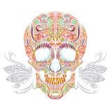 Crânio decorativo da cor ilustração royalty free