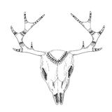 Crânio desenhado à mão dos cervos com ornamento nativo ilustração stock