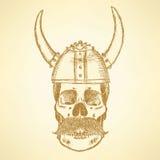 Crânio do esboço no capacete de viquingue ilustração do vetor