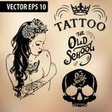 Crânio do estúdio da velha escola da menina da tatuagem ilustração do vetor