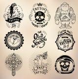 Crânio do estúdio da velha escola da tatuagem ilustração stock