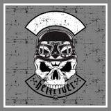 Crânio do estilo do Grunge que veste o capacete retro ilustração do vetor