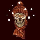 Crânio do moderno do Natal Ilustração do inverno Fotos de Stock Royalty Free