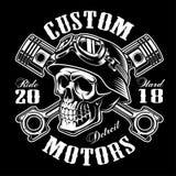 Crânio do motociclista com monochrome cruzado do projeto do t-shirt dos pistões ilustração royalty free
