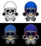 Crânio do motociclista com pistão Fotografia de Stock Royalty Free