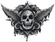 Crânio do motociclista do Grunge Imagens de Stock Royalty Free