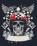 Crânio do motociclista no projeto do estilo do t-shirt Imagens de Stock