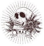 Crânio do Natal com ramos do abeto ilustração stock