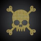Crânio do ouro do vetor Bandeira de pirata Objeto das lantejoulas Fotografia de Stock Royalty Free