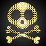 Crânio do ouro do vetor Bandeira de pirata Objeto das lantejoulas Imagens de Stock