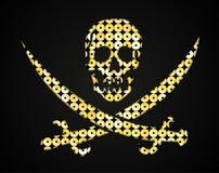 Crânio do ouro do vetor Bandeira de pirata Objeto das lantejoulas Foto de Stock