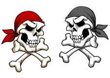 Crânio do pirata do perigo ilustração royalty free