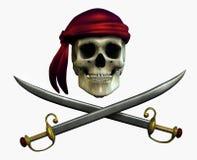 Crânio do pirata - inclui o trajeto de grampeamento fotografia de stock royalty free