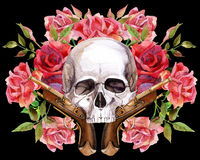 Crânio do ser humano da aquarela Fotos de Stock Royalty Free