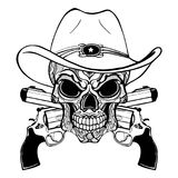 Crânio do vaqueiro em um chapéu ocidental e um par de armas cruzadas ilustração stock