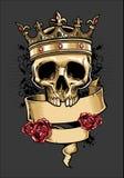 Crânio do vetor que veste uma coroa do rei Imagens de Stock Royalty Free