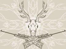 Crânio dos cervos e rifles cruzados Fotografia de Stock