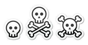 Crânio dos desenhos animados com grupo do ícone dos ossos Imagem de Stock