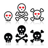 Crânio dos desenhos animados com grupo do ícone dos ossos e dos corações Imagem de Stock Royalty Free