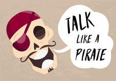 Crânio dos desenhos animados do divertimento que diz a conversa como um pirata Cartão do feriado a falar como um vetor Roger aleg ilustração stock