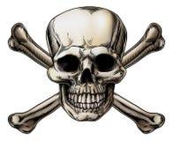 Crânio e ícone dos ossos cruzados ilustração royalty free