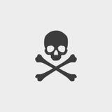 Crânio e ícone dos ossos cruzados em um projeto liso na cor preta Ilustração EPS10 do vetor ilustração stock