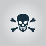 Crânio e ícone dos ossos cruzados isolado Fotografia de Stock Royalty Free