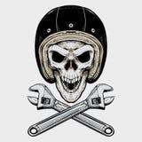 Crânio e chave do motociclista do vintage ilustração royalty free