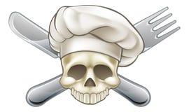 Crânio e cozinheiro chefe dos ossos cruzados ilustração stock