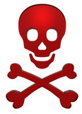 Crânio e crossbones do rubi isolados no branco Imagem de Stock Royalty Free