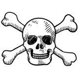 Crânio e esboço dos crossbones ilustração royalty free