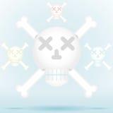 Crânio e estilo do ícone dos ossos cruzados na cor diferente Fotos de Stock