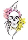 Crânio e flores ilustração stock
