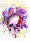 Crânio e flores ilustração do vetor